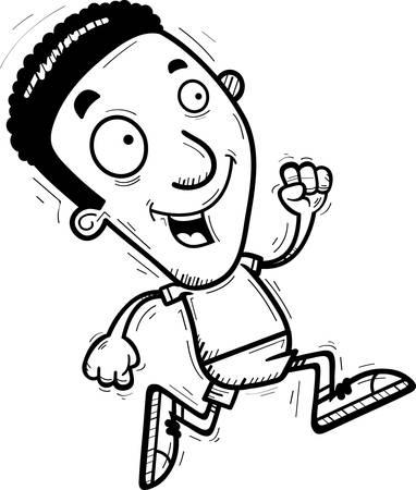 A cartoon illustration of a black man running.
