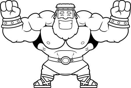 A cartoon illustration of Zeus celebrating.