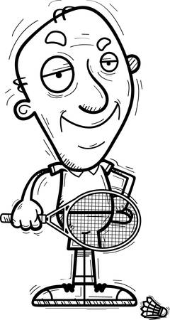 A cartoon illustration of a senior citizen man badminton player looking confident.