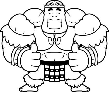 A cartoon illustration of a Zulu warrior with thumbs up.
