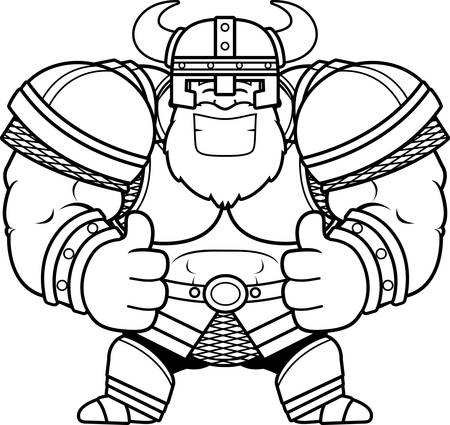 A cartoon illustration of a Viking with thumbs up.