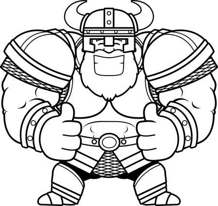 Un fumetto illustrazione di una viking con i pollici verso l & # 39 ; alto.