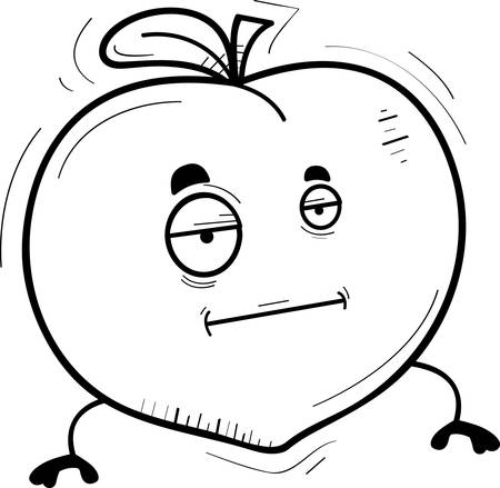 A cartoon illustration of a peach with a bored expression.