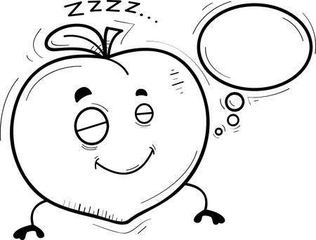 A cartoon illustration of a peach sleeping and dreaming.