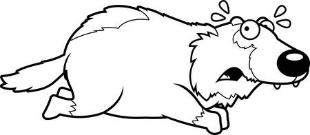 A cartoon illustration of a wolverine running away.