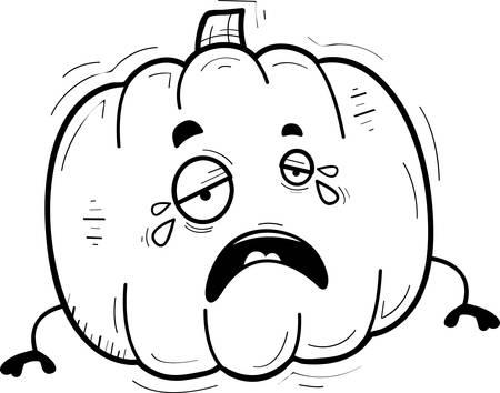 A cartoon illustration of a pumpkin crying. Ilustração