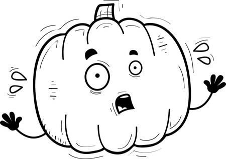 A cartoon illustration of a pumpkin looking scared.