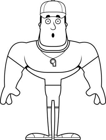 A cartoon coach looking surprised.