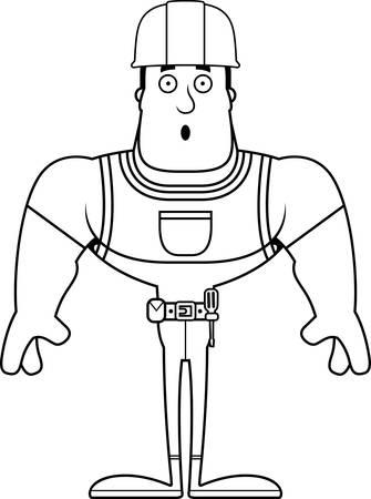 A cartoon construction worker looking surprised. Stock Illustratie