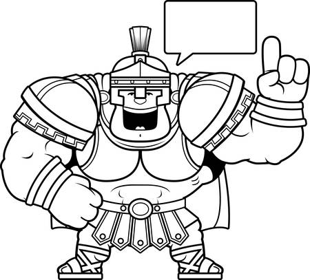 A cartoon illustration of a Roman centurion talking.