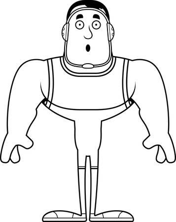 A cartoon wrestler looking surprised.