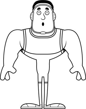 A cartoon wrestler looking surprised.