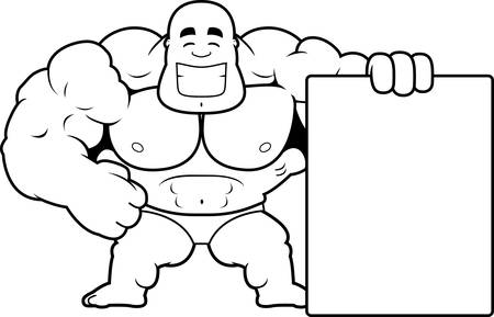 A cartoon illustration of a bodybuilder with a sign. Illustration