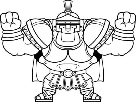 A cartoon illustration of a Roman centurion celebrating.