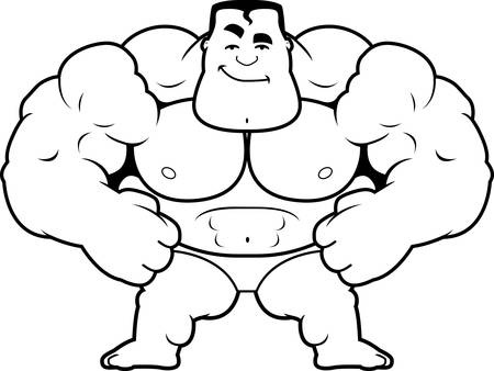 A cartoon illustration of a bodybuilder looking confident.