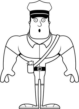 A cartoon mail carrier looking surprised.