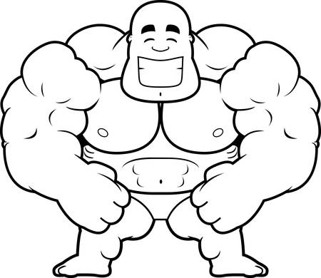 A cartoon illustration of a bodybuilder smiling.
