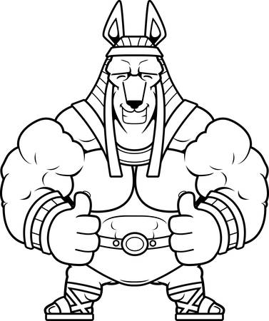 A cartoon illustration of Anubis with thumbs up.