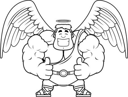 A cartoon illustration of an angel with thumbs up. 向量圖像