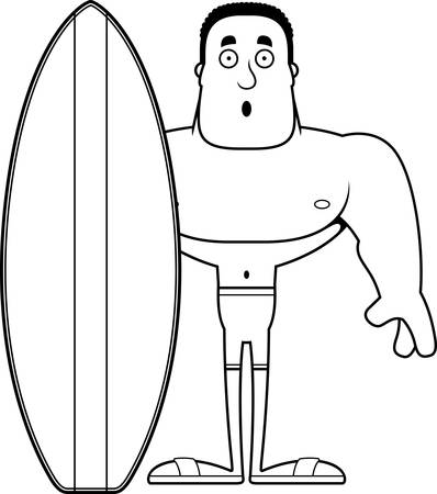 A cartoon surfer looking surprised.