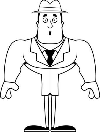 A cartoon detective looking surprised. Illustration