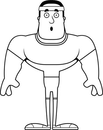 A cartoon fitness man looking surprised.