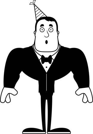 A cartoon partygoer looking surprised. Ilustrace