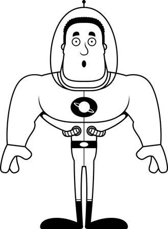 A cartoon spaceman looking surprised.