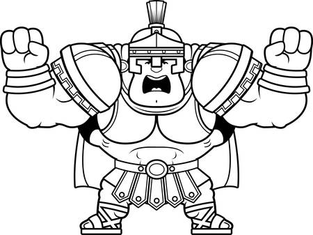 A cartoon illustration of a Roman centurion looking angry. Illustration