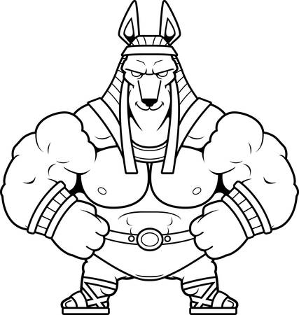 A cartoon illustration of Anubis looking confident.