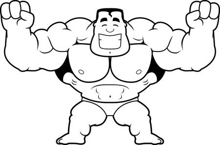 A cartoon illustration of a bodybuilder celebrating. Banque d'images - 102097665