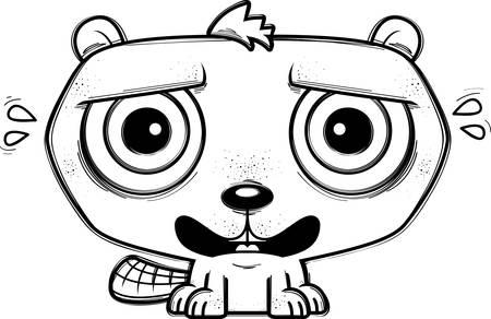 A cartoon illustration of a beaver looking terrified.