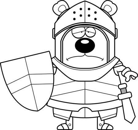 A cartoon illustration of a bear knight looking sad. 일러스트