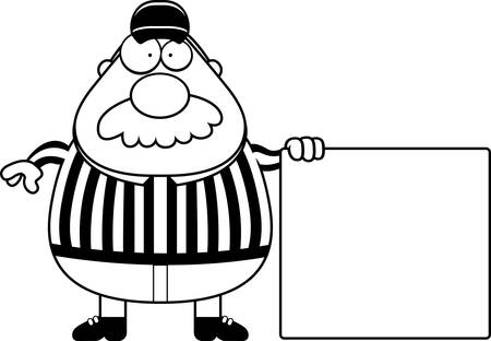 A cartoon illustration of a referee with a sign.
