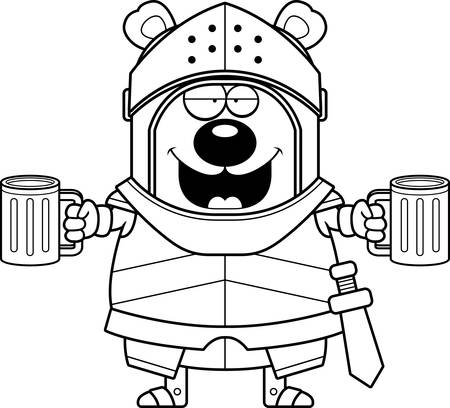 A cartoon illustration of a bear knight looking drunk.