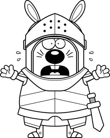 A cartoon illustration of a rabbit knight looking scared.