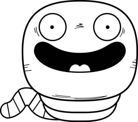 A cartoon illustration of a worm smiling.