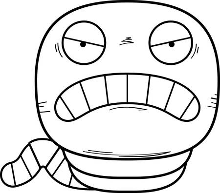 A cartoon illustration of a worm looking angry.