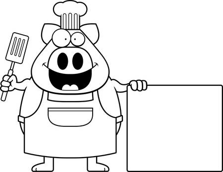 A cartoon illustration of a pig chef with a sign.