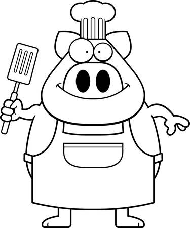 A cartoon illustration of a pig chef looking happy.