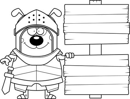A cartoon illustration of a dog knight with a wooden sign. Illustration