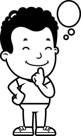 A cartoon illustration of a boy thinking.