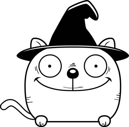 A cartoon illustration of a cat in a witch hat peeking over an object. 일러스트
