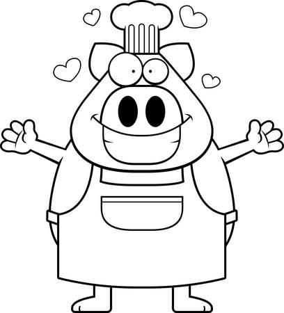 A cartoon illustration of a pig chef ready to give a hug. Illustration