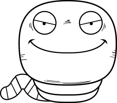 A cartoon illustration of an evil looking worm. Stock Illustratie