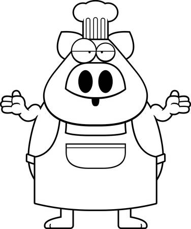 A cartoon illustration of a pig chef looking confused. Foto de archivo - 102098564