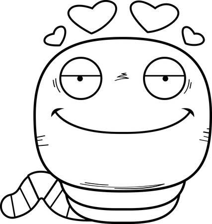 A cartoon illustration of a worm in love. Stock Illustratie