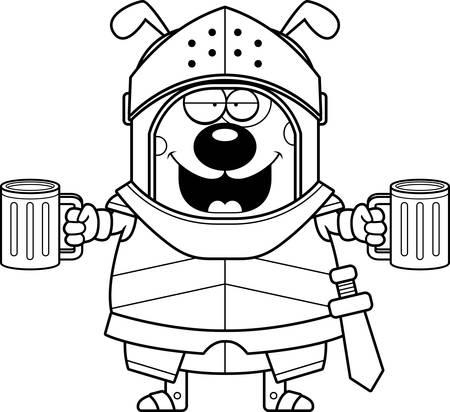A cartoon illustration of a dog knight looking drunk.