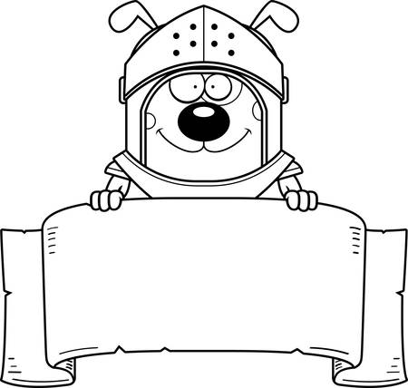 A cartoon illustration of a dog knight with a banner.