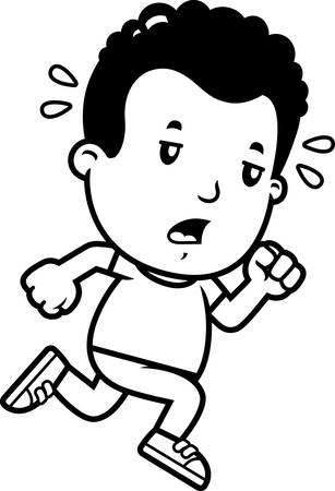 A cartoon illustration of a boy running and looking exhausted. Banque d'images - 102098721